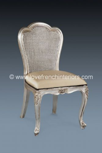Candice Upholstered Chair in Silver Leaf